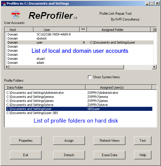 Reprofiler – A tool for manipulating user profiles on Windows