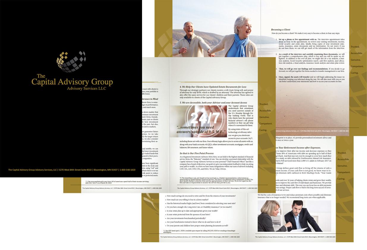 Brochure design for financial advisor company