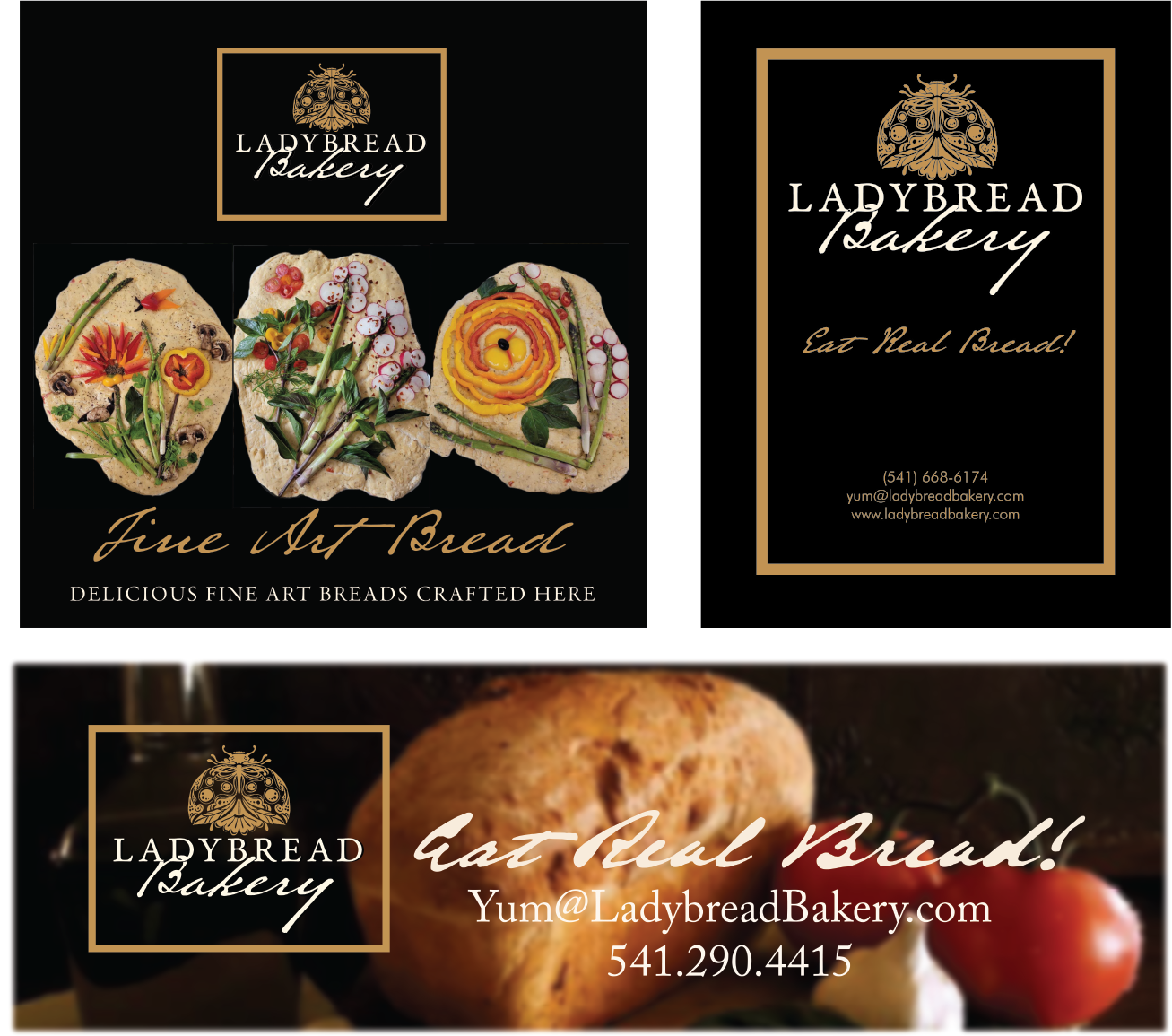Ladybread Bakery signs and banners